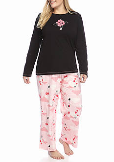 HUE® Penguins Can Fly Knit Plus Pajama Set with Free Socks