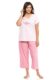 HUE® Plus Size Flamingo Time Capri Pajama Set