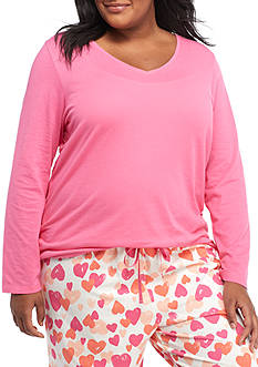 HUE Plus Size Solid Long Sleeve V-Neck Tee