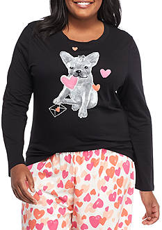 HUE Plus Size Doggie Dog Long Sleeve Tee