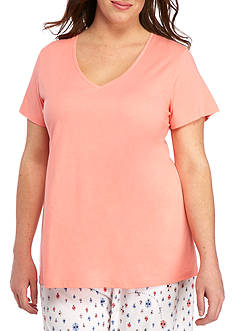 HUE Plus Size Solid V-Neck Short Sleeve Tee