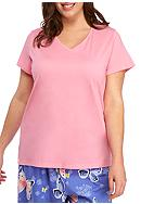 HUE® Plus Size Solid V-Neck Short Sleeve Tee