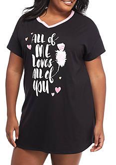 HUE Plus Size Printed Short Sleeve Sleepshirt