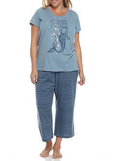 HUE Plus Size Tee and Printed Pant Pajama Set