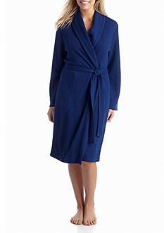 Kim Rogers Plus Size Waffle Knit Shawl Robe