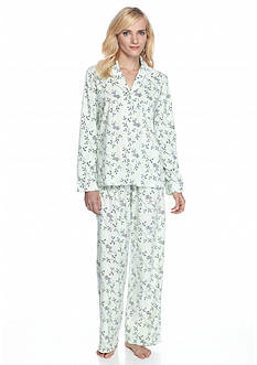 Kim Rogers® Folded 2-Piece Floral Bird Microfleece Button Front Pajama Set