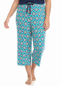 New Directions® Intimates Plus Size Medallion Turquoise Knit Capris
