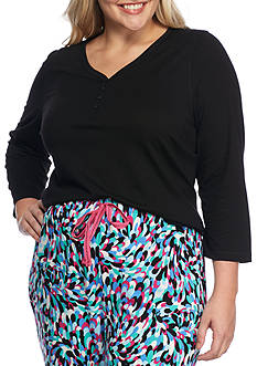 New Directions Plus Size Three Quarter Sleeve Henley Tee