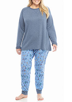 New Directions Plus Size Paris Tunic and Jogger Pajama Set