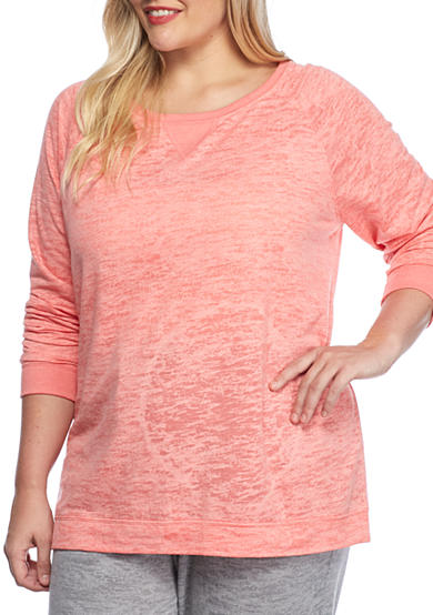 New Directions® Long Sleeve Burnout Pullover Top