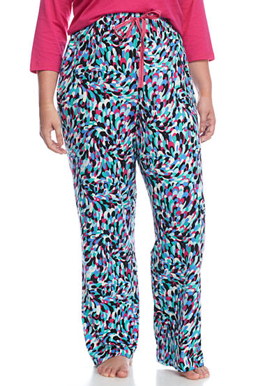New Directions® Plus Size Printed Peacock Knit Pants