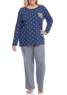 New Directions Plus Size Navy Dot Stripe Pajama Set