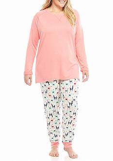 New Directions Plus Size Llama Tunic and Jogger Pajama Set