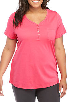 New Directions Plus Size Short Sleeve Henley Tee