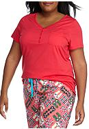 New Directions® Plus Size Short Sleeve Henley