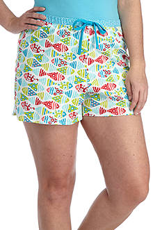 New Directions Plus Size Fish Friends Printed Boxer