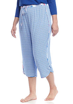 New Directions Plus Size Slinky Diamond Capri Pajama Pant
