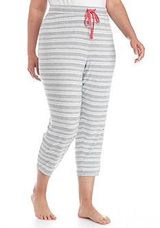 New Directions Plus Size Gray Stripe Capri