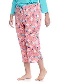 New Directions Plus Size Capri Starfish Pajama Pants