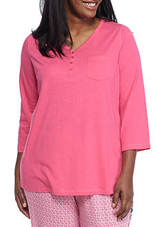 New Directions® Plus Size Three Quarter Henley Tee