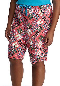 New Directions Plus Size Flip Flop Medallion Bermuda Knit Pajama Shorts