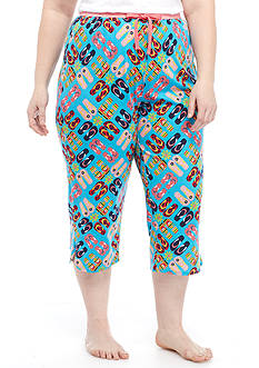 New Directions Plus Size Flip Flop Printed Capri Pant