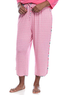 New Directions Plus Size Slinkly Diamond Capri Pajama Pant
