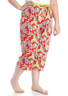 New Directions Plus Size Secret Garden Printed Capri