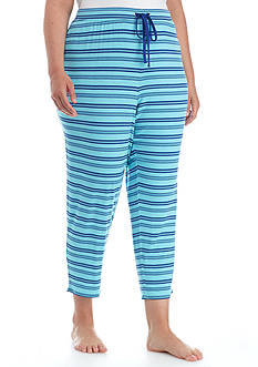 New Directions Plus Size Blue Stripe Capri Pant