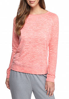 New Directions Long Sleeve Burnout Pullover Pajama Top