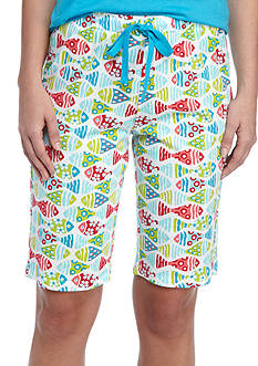 New Directions Fish Friends Knit Bermuda Pajama Shorts