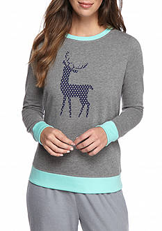 New Directions Reindeer Long Sleeve Lounge Pullover Top