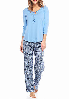 New Directions Three Quarter Sleeve Tassel Pajama Set