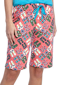 New Directions Flip Flop Medallion Knit Bermuda Pajama Shorts
