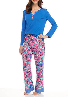 New Directions® Two Piece Paisley Print Pajama Set