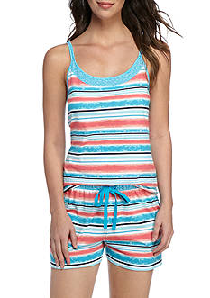 New Directions® 2-Piece Seaside Stripe Tank And Shorts Pajama Set