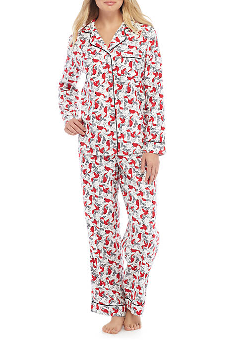 New Directions 174 2 Piece Flannel Cardinal Pajama Set Belk