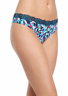 New Directions Intimates Printed Lace Trim Thong - T91136P