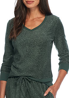 Jaclyn Intimates Super Soft Stretch Fleece V-Neck Top with Rib Trim