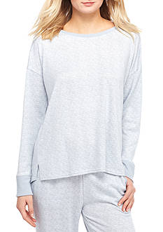New Directions Solid High Low Long Sleeve Heather Tee