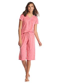 Kim Rogers Short Sleeve Henley Clamdigger Capri Pajama Set