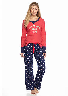 Tommy Hilfiger® 2-Piece Long Sleeve Tee and Flannel Pajama Set