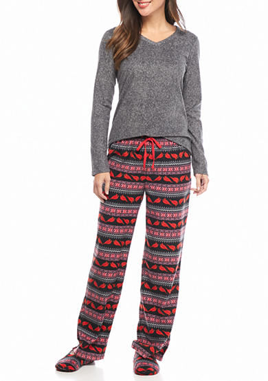 Dream Lounge 3-Piece Micro Cotton Pajama Set with Slippers
