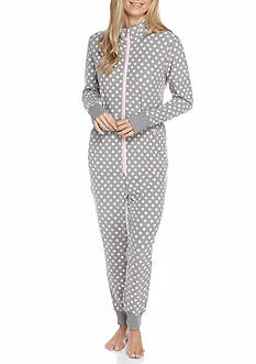 Goodnight Kiss™ Gray Dot Cuffed One-Piece Pajama