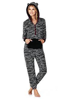 Layla Sherpa Hooded One-Piece Pajama Set