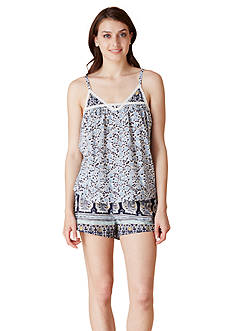 Lucky Brand Woven Shorty Pajama Set
