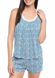 Lucky Brand Lace Panel Shorty Pajama Set
