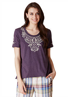 Lucky Brand Short Sleeve Embroidered Top