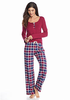 Lucky Brand 2-Piece Henley Flannel Pajama Set
