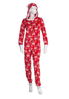 Elf on the Shelf Hooded Zip Front Ribbed One Piece Pajama